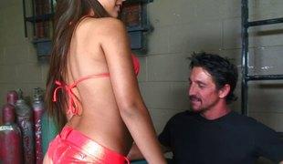 Big booty bikini temptress drilled in her lustful anus