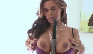 Impressive solo model with big tits showcasing her nice ass while feasting her pussy using biggest marital-device