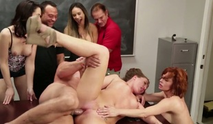 Veronica Avluv has oral fun with horny gangbang buddy
