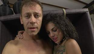 Bonnie Rotten and Valeria Visconti show every inch of their hot bodies to Rocco Siffredi. They shake their butts and bare their sweet tits. Flirtatious babes make man happy