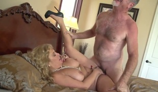 Karen Summer gets her mouth attacked by guys rock hard erect cock