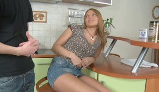 Russian honey with nice ass face fucked roughly in the kitchen