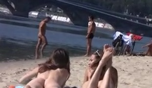 Nudist beach brings the most excellent out of 2 sexy legal age teenagers