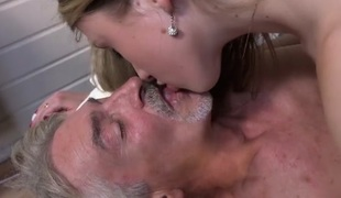 Kinky skinny angel gives grandpa full erotic massage