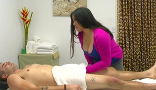 Fat Asian masseuse gives her client anything he needs