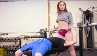 Skinny doll practices sports and sex with her tall long-haired BF