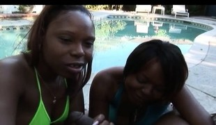 2 wild ebon girls use their lips and hands to please a black pole