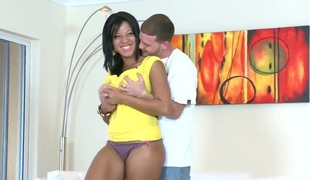 Brunette hair Natasha Dulce with phat ass is happy with love juice on her pretty face