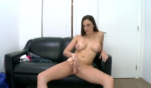 Brunette hair Melanie Hicks makes no secret of her vagina and jugs