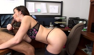 Yummy bitch with huge scoops Sara Jay gives blowjob to a darksome man
