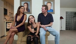 Remy LaCroix gets her mouth & pussy screwed remarcably well in FFM scene
