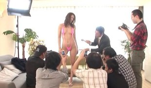 Oriental swimsuit model is turned on and lascivious for cock