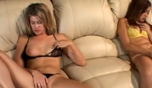 Angelic babes have enjoyment fingering and toy fucking their slits