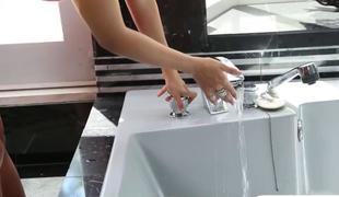 Breasty porn star washroom sex video bomb by the cameraman