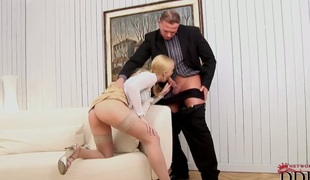 Blonde Misty Mild satisfies mans sexual needs and then gets covered in cum
