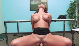 Hot office slut Destiny Dixon fucking the large cock boss