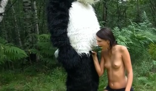 A dude is outside with his woman in the forest, fucking her deeply