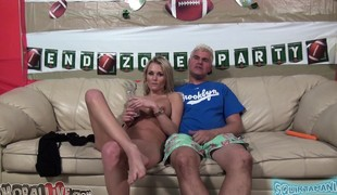 Stunning blonde with big hooters Lauren Crystal takes a deep drilling
