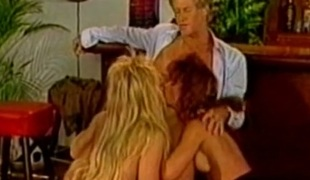 Two classic white slags giving head to one favourable dude