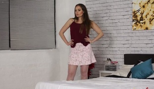 Delightsome Sophia Delane stripping seductively in solo video
