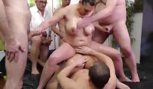 Filthy amateurs screwed in gangbang