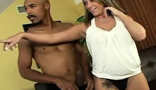 Sensuous blonde Kori exposes her consummate curves and fucks a black dick