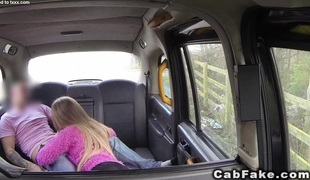 Golden-haired in boots gets fucked in cab