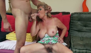 Breathtakingly hot hottie Effie with gigantic melons sucks like theres no tomorrow in steamy blowjob action with hot man