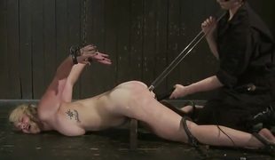 Valuable Blonde has Her miniature tunnel Catch- round An Iron Hook