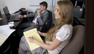 Pain haired blondie seducing her boss