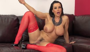 Stockings and heels on a sexy milf playgirl with large milk sacks