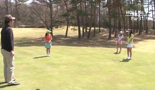 Teen golfer acquires her pink pounded on the green!