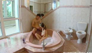 Breasty teen can`t live without bath sex